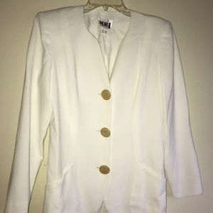 N.R.1 Vintage White Blazer with Gold Buttons